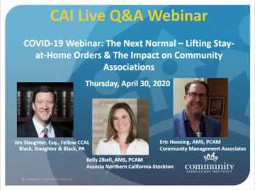 Covid-19 Webinar: The Next Normal - Lifting Stay-at-Home Orders & The Impact on Community Associations