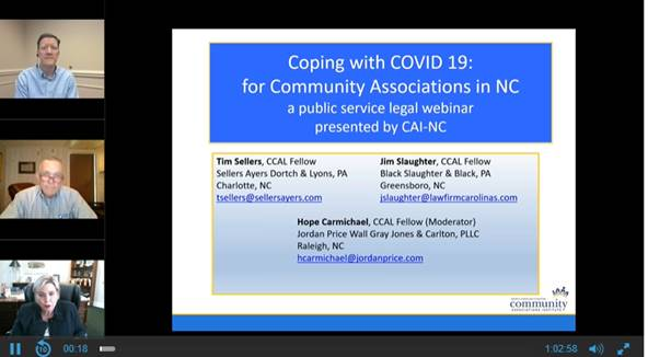 Coping with Covid-19 for Community Associations in NC - A Public Service Legal Webinar Presented by CAI-NC